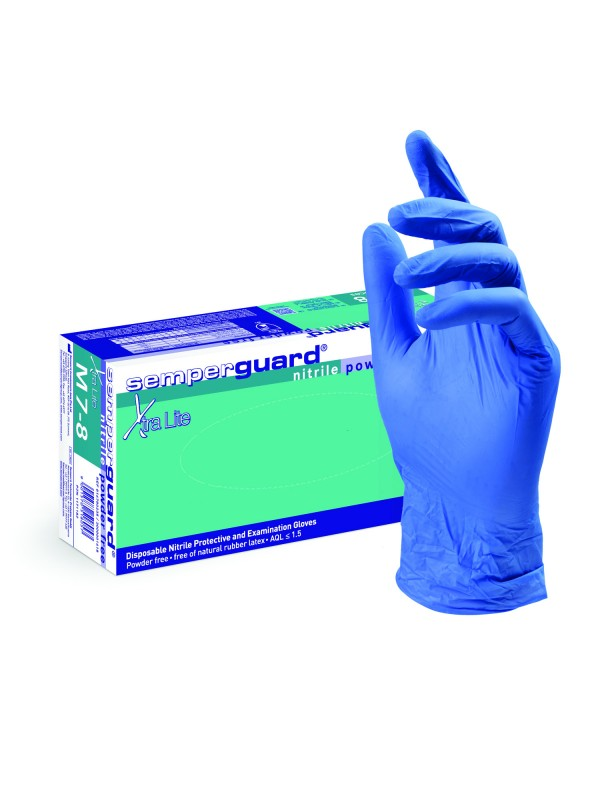 Semperguard nitrile powder free gloves, M size, 100 pcs