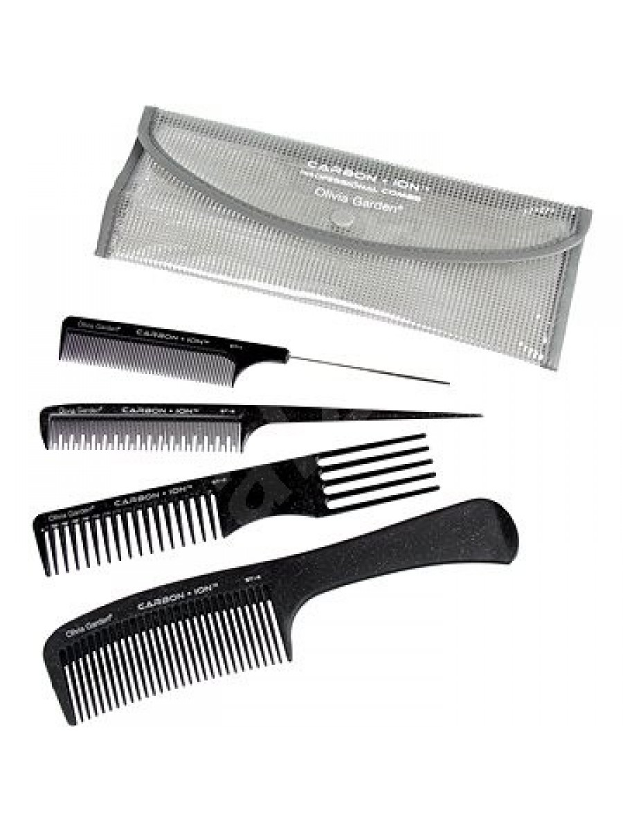 OLIVIA GARDEN CARBON + ION CARBON+ION POUCH WITH 4 ST COMBS 3010308 COMBS