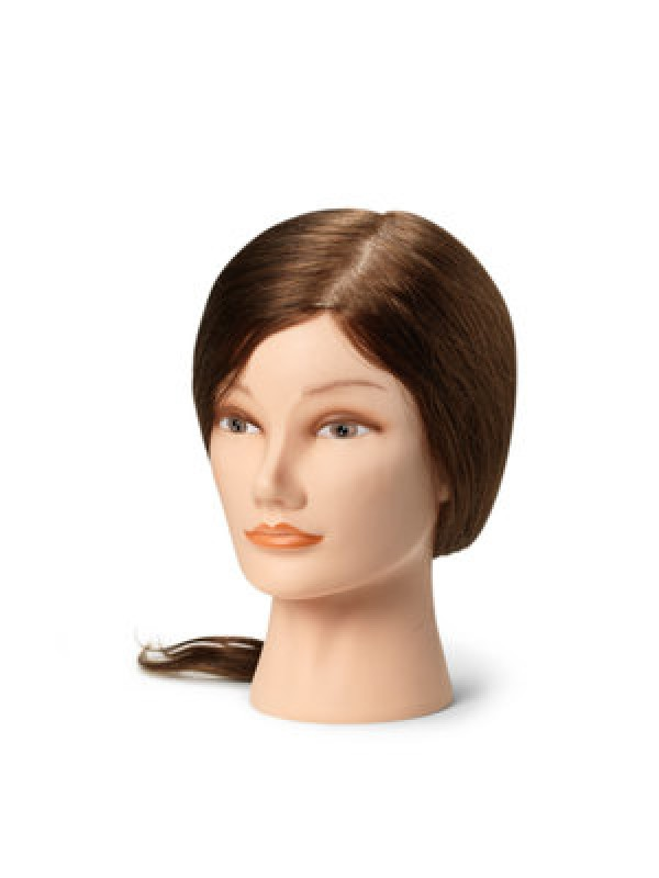 Training head with natural hair,  M (35-40 cm)