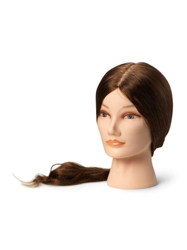 Training head with natural hair,  XL (55-60 cm)